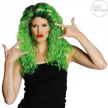 Curly long wig green - dámska parochňa