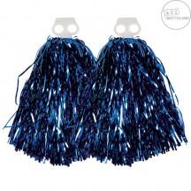 Pompony metalické modré - pár