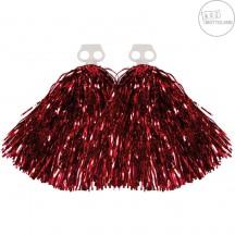 Pompony metalické červené - pár
